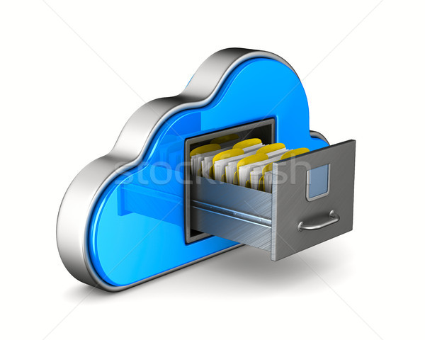 Cloud and filing cabinet on white background. Isolated 3D illust Stock photo © ISerg