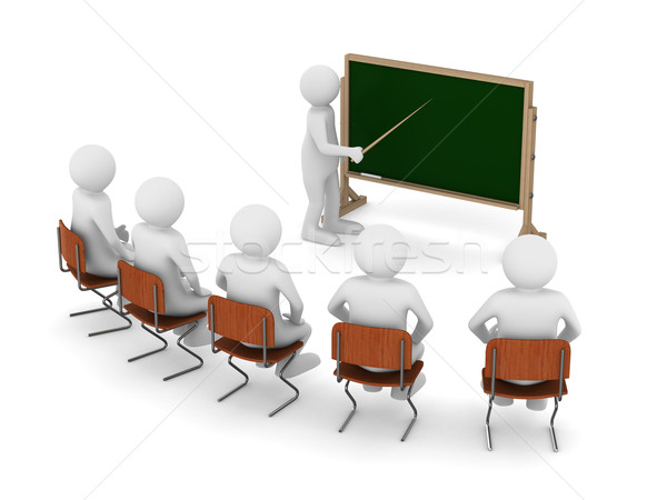 Stock photo: teacher with pointer at blackboard. Isolated 3D image