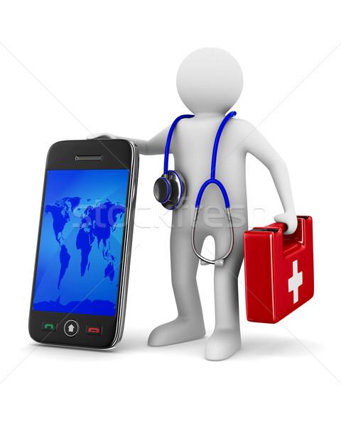 Foto stock: Telefone · serviço · branco · isolado · 3D · imagem