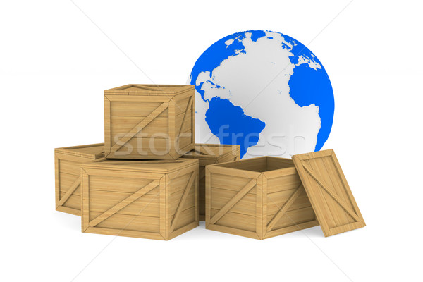 Stock photo: wooden boxes. Isolated 3D image