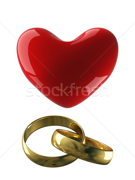 Foto stock: Coração · anéis · de · casamento · branco · 3D · imagem · amor
