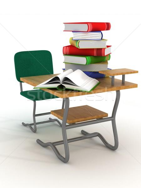 Iskola asztal tankönyvek 3D kép terv Stock fotó © ISerg