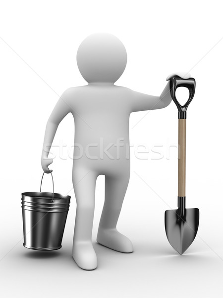 Man with bucket and shovel on white background. Isolated 3D imag Stock photo © ISerg