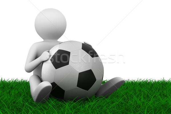 Сток-фото: футболист · мяча · трава · изолированный · 3D · изображение