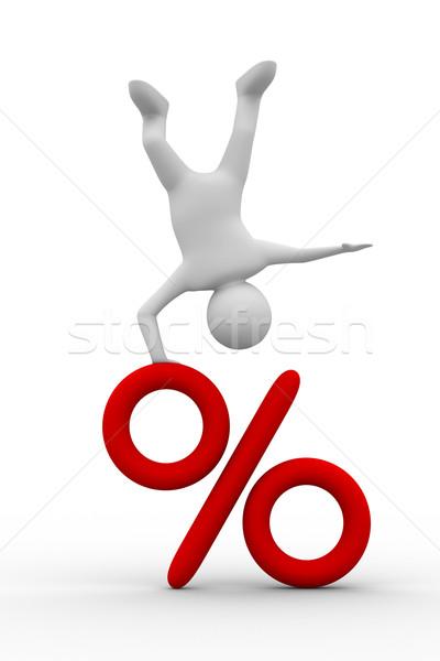 Stock photo: men on percent. Isolated 3D image on white background
