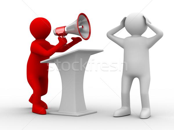 Stock photo: orator speaks in megaphone. Isolated 3D image
