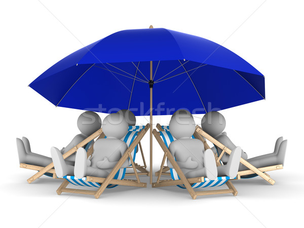 people rest under parasol. Isolated 3D image Stock photo © ISerg