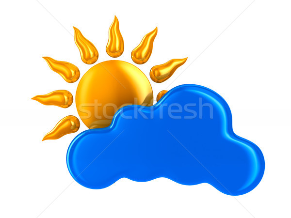 cloud and sun on white background. Isolated 3D illustration Stock photo © ISerg