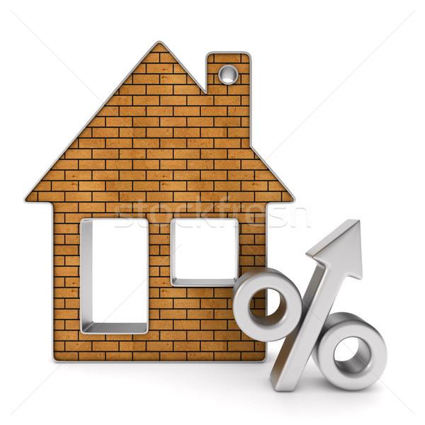 Metallic trinket house and percent on white background. isolated Stock photo © ISerg