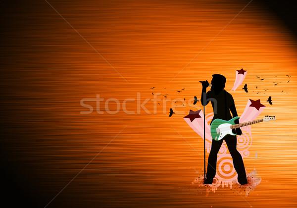 Gitar adam şarkı söyleme soyut uzay el Stok fotoğraf © IstONE_hun