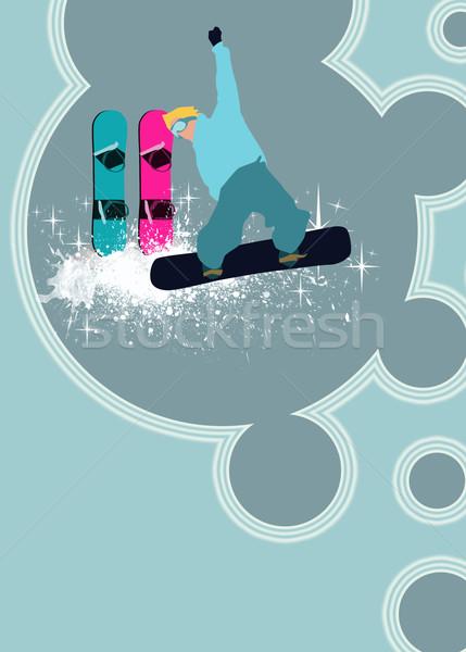 Snowboard kış sporları poster adam uzay kadın Stok fotoğraf © IstONE_hun