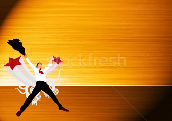 Iş adamı atlamak soyut uzay el mutlu Stok fotoğraf © IstONE_hun