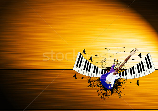 Piano gitaar abstract ruimte frame rock Stockfoto © IstONE_hun
