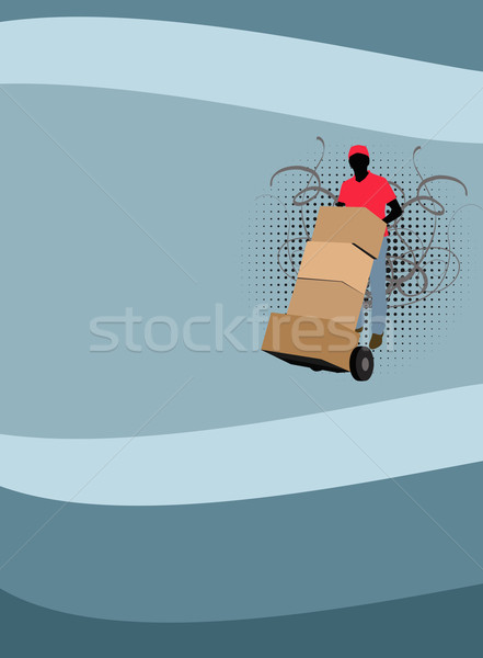 Teslim hizmet adam kutu uzay iş Stok fotoğraf © IstONE_hun