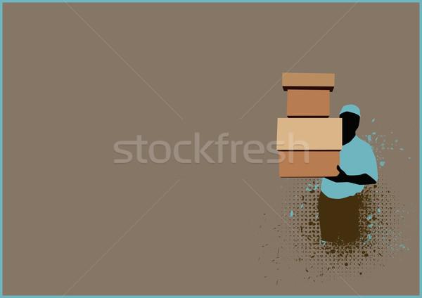 Házhozszállítás szolgáltatás férfi doboz űr üzlet Stock fotó © IstONE_hun