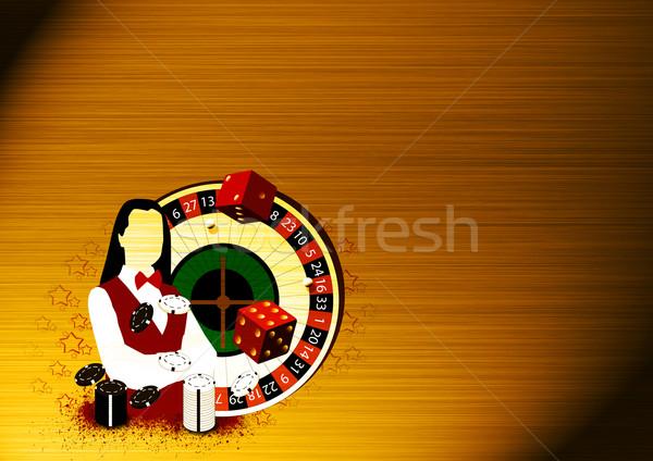 Rueda de la ruleta comerciante nina resumen espacio oro Foto stock © IstONE_hun