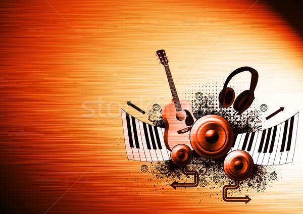 Muziek poster gitaar piano spreker hoofdtelefoon Stockfoto © IstONE_hun