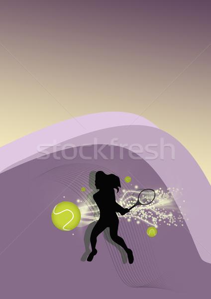 Tenis poster soyut tenis topu oyuncu spor Stok fotoğraf © IstONE_hun