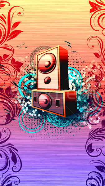 Spreker abstract grunge muziek ruimte partij Stockfoto © IstONE_hun