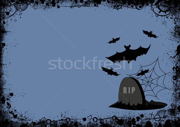 Halloween plakat nagrobek bat pajęczyna przestrzeni Zdjęcia stock © IstONE_hun