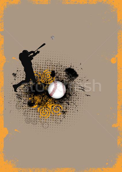 Beysbol soyut grunge adam top uzay Stok fotoğraf © IstONE_hun