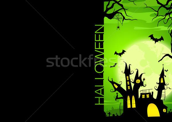 Halloween plakat nawiedzony zamek dynia domu Zdjęcia stock © IstONE_hun
