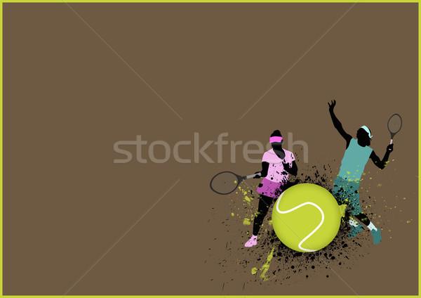 Tennis sport poster man vrouw ruimte Stockfoto © IstONE_hun