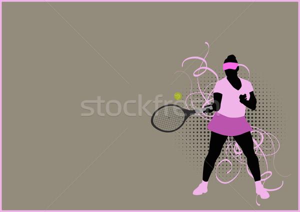 Tenis spor poster kadın uzay kız Stok fotoğraf © IstONE_hun