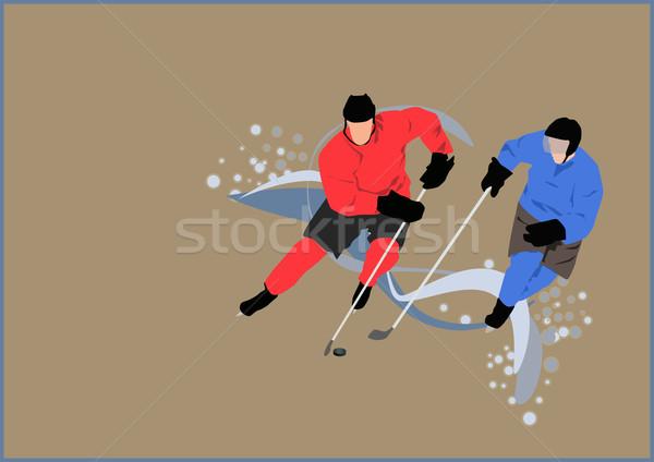 Hockey poster speler ijs ruimte sport Stockfoto © IstONE_hun