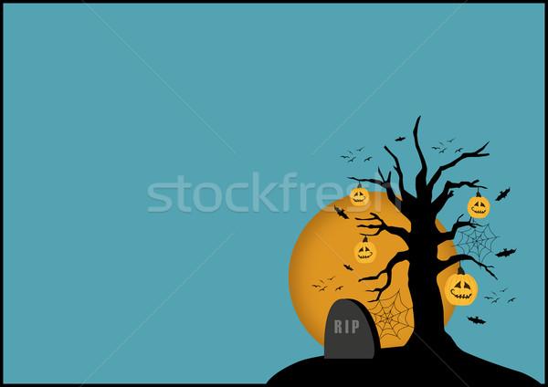Halloween poster kabak ağaç mezar taşı uzay Stok fotoğraf © IstONE_hun