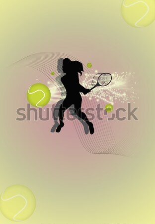 Tennis poster abstract tennisbal speler sport Stockfoto © IstONE_hun