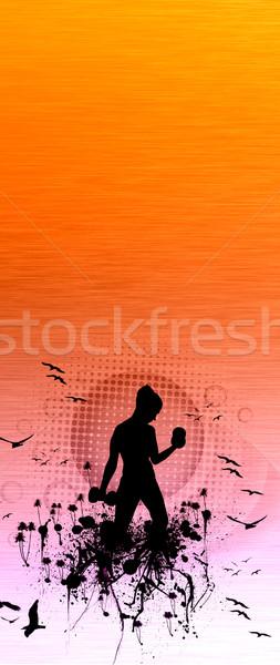 Uygunluk kız uzay poster web broşür Stok fotoğraf © IstONE_hun