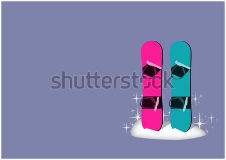 Stok fotoğraf: Snowboard · kış · kamp · poster · uzay · ahşap