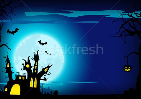 Halloween poster kasteel pompoen huis Stockfoto © IstONE_hun