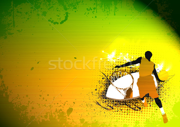 Stockfoto: Basketbal · springen · abstract · grunge · ruimte · licht