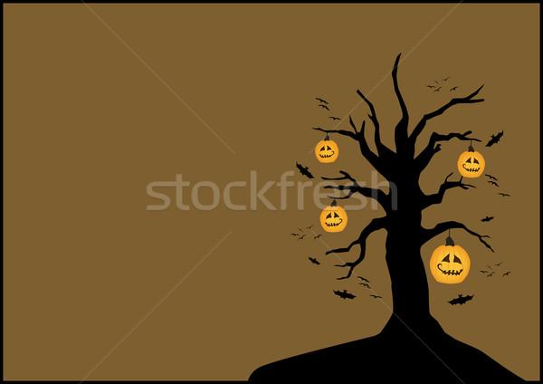Stockfoto: Halloween · poster · pompoen · boom · ruimte · ontwerp