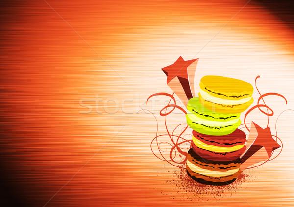 Macaron tatlı tatlı poster uzay çikolata Stok fotoğraf © IstONE_hun
