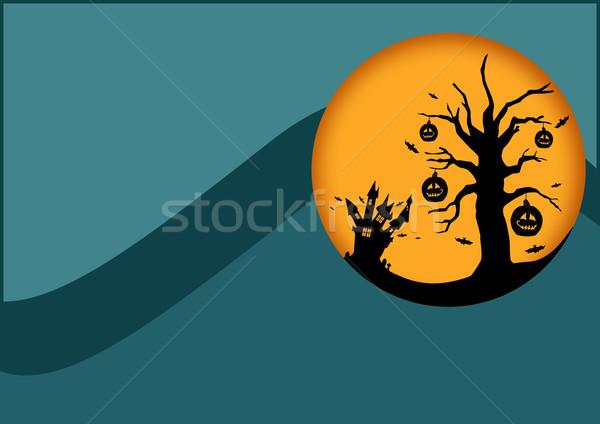 Halloween poster kale kabak ağaçlar Stok fotoğraf © IstONE_hun