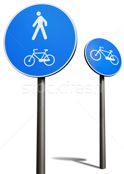 bicycles and pedestrians road sign Stock photo © italianestro