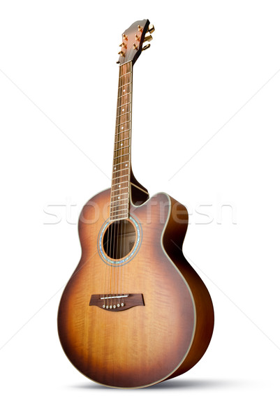Guitare acoustique acoustique guitare isolé blanche Photo stock © italianestro