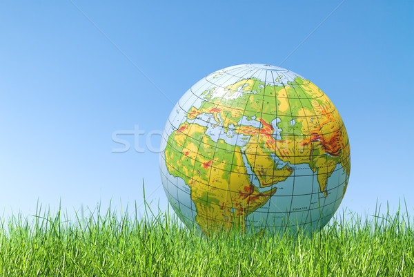 planet earth balloon over grass Stock photo © italianestro