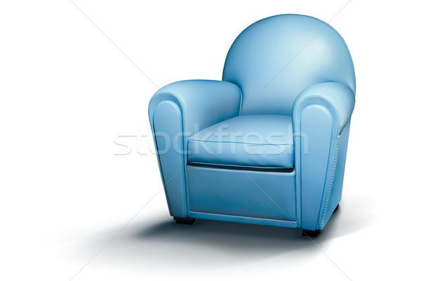 青 革 アームチェア 白 空 椅子 ストックフォト © italianestro