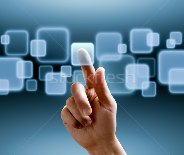 Interface hand voortvarend knop Stockfoto © italianestro