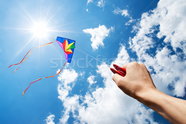 Battant kite belle ciel soleil nuages Photo stock © italianestro