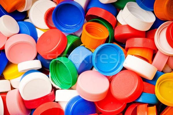 Vis recyclable coloré plastique fond bleu Photo stock © italianestro