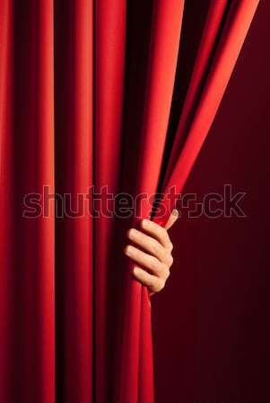 Stock photo: opening the curtain