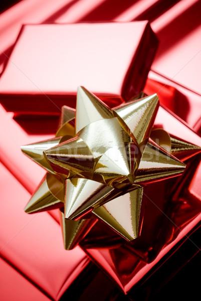 Photo stock: Noël · or · coffrets · cadeaux · rouge · papier