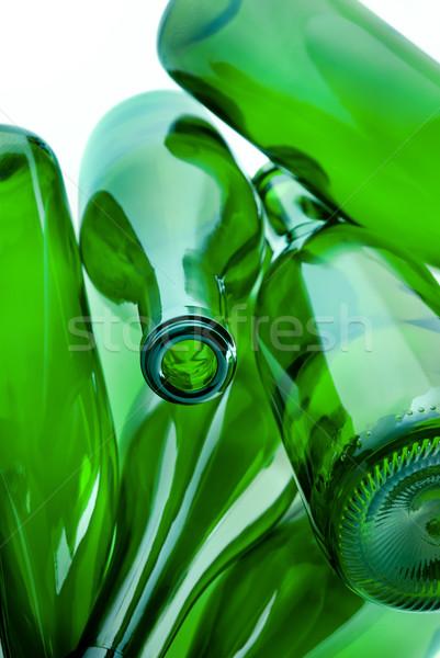 Grünen Flaschen Glas Heap Recycling Stock foto © italianestro