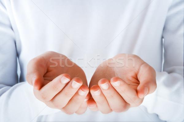 Kezek bemutat valami üres tett kéz Stock fotó © italianestro