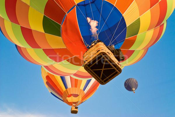 Hőlégballon elér fölött sport szivárvány vicces Stock fotó © italianestro